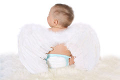 Little child with angel wings sitting back on a white fur Stock Photos