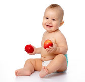 Little child with apple Royalty Free Stock Images