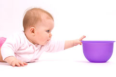 Little child baby and tableware Royalty Free Stock Image