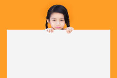Little child behind white board Stock Photos