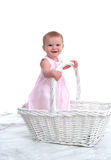 Little Child in a Big Basket Royalty Free Stock Image