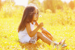 Little child blowing dandelion in sunny summer day