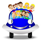 Little child in blue car Stock Images