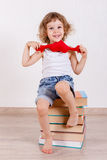 Little child with books. Royalty Free Stock Photography
