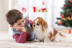 Child boy with dog lying at christmas tree on the floor. stock photography