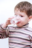 Little Child Boy Drinking Pure Water Stock Images