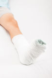 Little child boy with plaster bandage on leg heel fracture or br Stock Photography