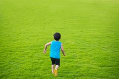 Little child boy running forward in the big green grass field summer day. Kid freedom concept stock photo