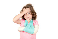 Little child with broken hand Royalty Free Stock Image