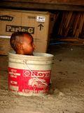 Little child in a bucket. In India Stock Image