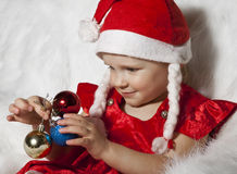 Little child in christmas hat Stock Photo