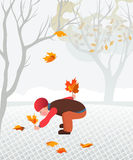 Little child collecting fallen leaves Stock Photos