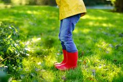 Little child in colorful rain boots. Close-up of school or preschool legs of kid boy or girl in different rubber boots. Jeans and jackets. Footwear for rainy royalty free stock image