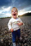 Little child cry scream. Outdoor Stock Image