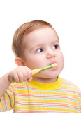 Little child with dental toothbrush brushing teeth Royalty Free Stock Images