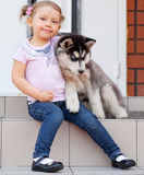 Little child with dog Royalty Free Stock Photography