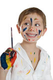 Little Child, Drawing Paint. Royalty Free Stock Image