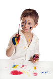 Little child, drawing paint. Stock Photography