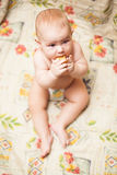 Little child eating biscuit Stock Photography