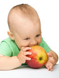 Little child is eating red apple Royalty Free Stock Photo
