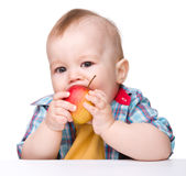 Little child is eating red apple Stock Photo