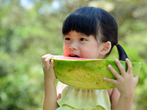 Little child eating watermelon Royalty Free Stock Image