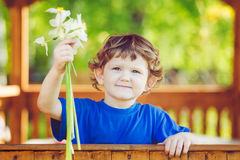 Little child with a flower in his hand. Stock Images