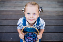 Little child girl with basket full of plums Royalty Free Stock Images