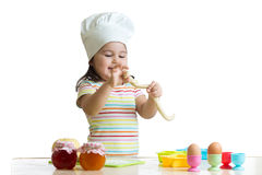 Little child girl cook playing with dough Royalty Free Stock Photography