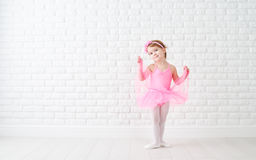 Little child girl dreams of becoming  ballerina Stock Photos