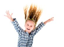 Little child girl with flying hair stock photos