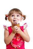 Little child girl with ice cream isolated Stock Images