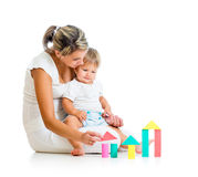 Little child girl and mother playing together Royalty Free Stock Photo