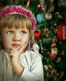 Little Child Girl Near Christmas Tree. Happy New Year Royalty Free Stock Photography