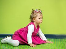 Little child girl playing in kindergarten in Montessori Class. Little child girl playing in kindergarten in Montessori preschool Class royalty free stock photos