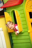 Little child girl playing in kindergarten Royalty Free Stock Images