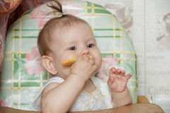 Little child girl sits in a highchair and eats cookies Royalty Free Stock Photos