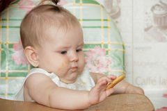 Little child girl sits in a highchair and eats cookies Stock Photos