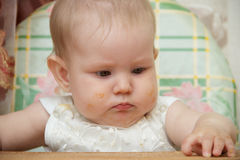 Little child girl sits in a highchair and eats cookies Royalty Free Stock Photography