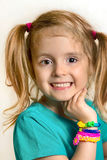 Little child girl smiling portrait with loom bracelets.Happy fem Royalty Free Stock Photos