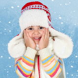 Little Child Girl in Winter Hat Stock Photo