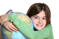 Little child with globe Stock Photography