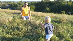 Little child goes on green grass at the field to his father at sunny day. Happy family on a summer meadow. Baby boy. Walking to his daddy outdoor. Toddler stock video footage