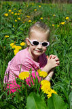 Little Child on green meadow Royalty Free Stock Photography
