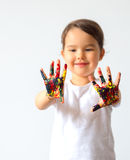 Little child hands painted in colorful paints isolated. Little child hands painted in colorful paints stock images