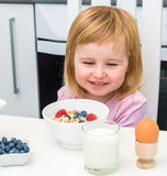 Little child having breakfast Royalty Free Stock Images