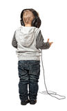 Little child with headphone Stock Photos