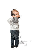 Little child with headphone Stock Photo
