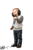 Little child with headphone Royalty Free Stock Photo