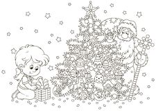 Santa and a girl with a Christmas gift royalty free illustration